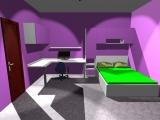 Návrh pokoje v kombinaci zelená a fialová