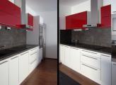 Kuchyň bílá červená a šedá